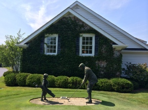 Statue in front of the Ozaukee Country Club clubhouse