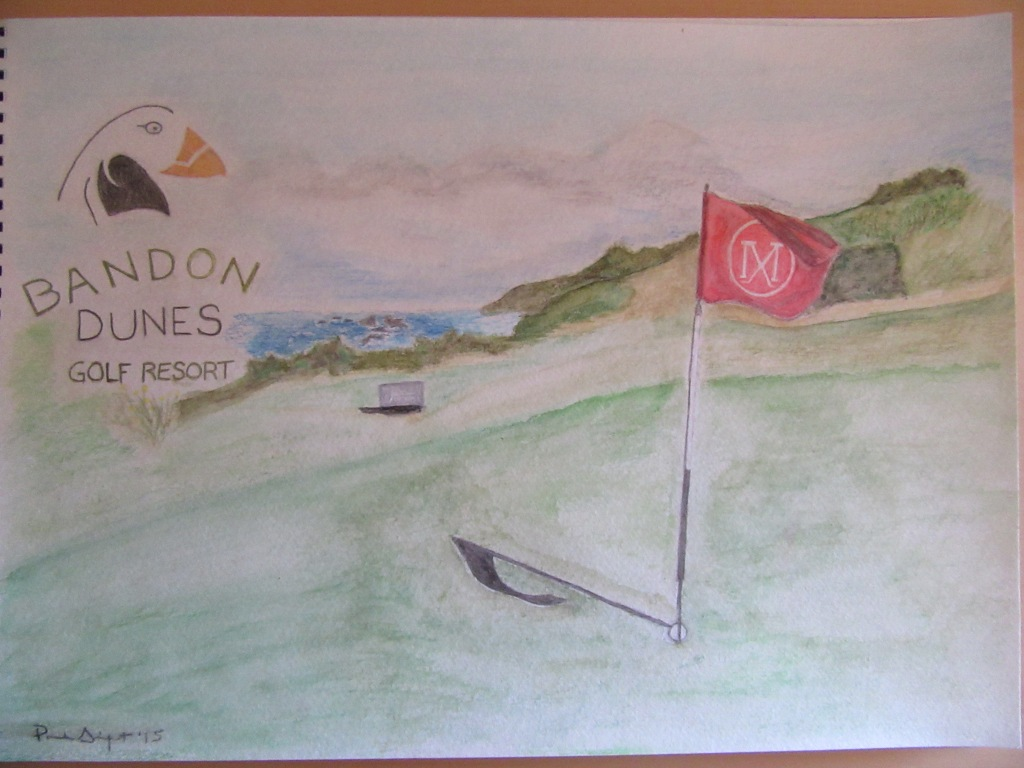 Watercolor of the 15th green (