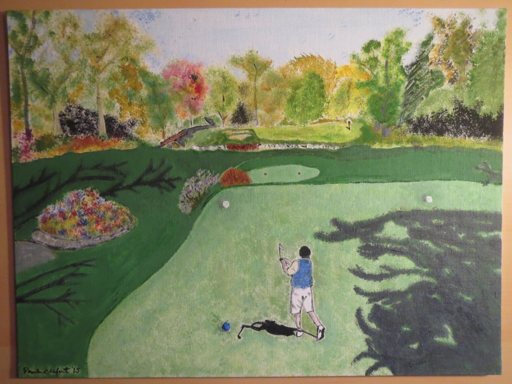 Acrylic painting of Norm Schulz on the 12th hole at North Hills Country Club in Menomonee Falls, WI