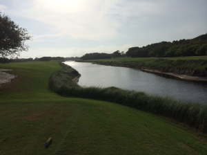 The par 3 17th hole at Kiva Dunes Golf Club - across the river, 210 yards and straight against the teeth of a STRONG inward cross-wind. Between a 2, 6, 10 and 12-handicap, no one got near.
