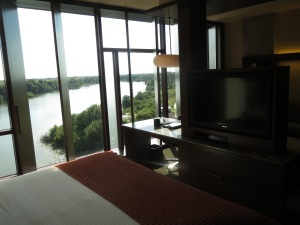 Beautiful view from bedroom area of room 520 at Streamsong Resort (standard lake view king room)