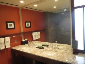 Standard king lake view room bathroom at Streamsong Resort