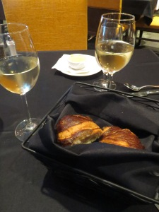 Pretzel bun croissants with beer cheese at P2O5 restaurant at Streamsong Resort