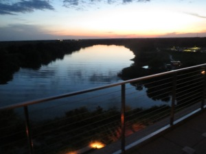 Sunset from the patio outside of Fragmentary Blue at Streamsong Resort