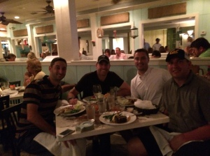 Paul, Mike, Nick and Jeff at Shipp's Harbour Grill in Orange Beach, AL
