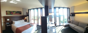 Panoramic view of the standard king lake view room at Streamsong Resort