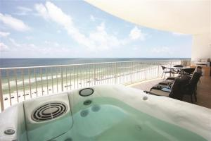 Balcony view with private hot tub at Turquoise Place in Orange Beach, Alabama