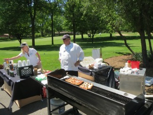 Pizzas on the grill by the 16th tee box