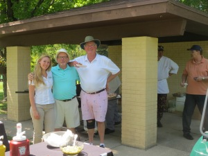 Bill Heise, Bill Fleming and cart girl Lauren at the food stop between 13 and 14
