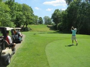 Bill Heise's tee shot on the par 3 7th