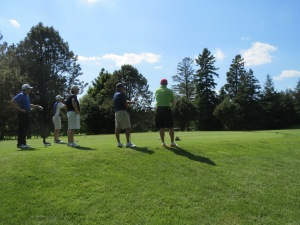The Seider group ready to tee off on 11 - pretty much have to wait for the green to clear for this group to tee it up!