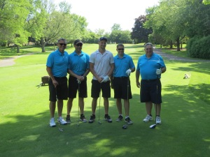 Jared Abbrederis with Stephen Soltwedel, Nelson Corazzari, Paul Soltwedel and Gene Faus on the par 3 2nd