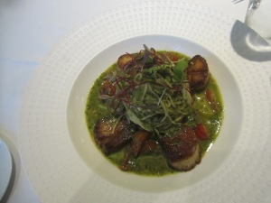 Capellini pasta with scallops entree at SottoTerra at Streamsong