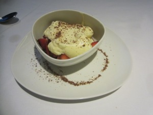 Strawberries with vanilla custard dessert at SottoTerra at Streamsong