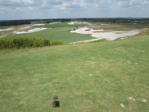 1st hole tee shot on the Blue course at Streamsong Resort