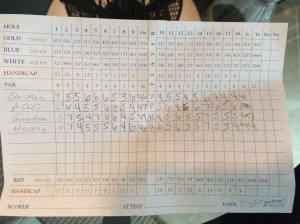 18-hole scorecard at Kiva Dunes in Gulf Shores, AL