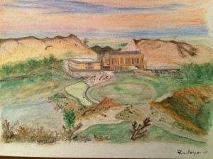 Streamsong Resort watercolor drawing, by Paul Seifert