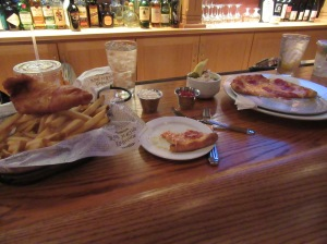 Cod fish fry, fries and pizza at McKee's Pub