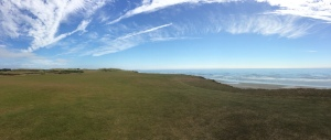 Panoramic view of the 4th hole at Pacific Dunes