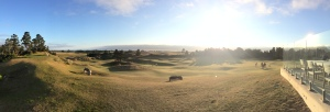 Panoramic view of the Punchbowl, and out over Pacific Dunes to the ocean