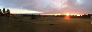 Sunset over the Punch Bowl and Pacific Dunes GC outside the Pacific Grill at Bandon Dunes Golf Resort