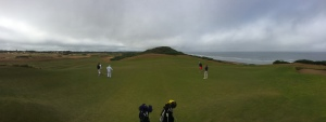 Panoramic view of the par four 7th hole at Old Macdonald