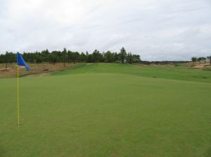 The dogleg right, uphill par four 2nd hole (415/380/365/280/225) at Sand Valley Golf Resort