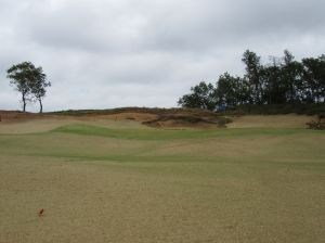 The long, uphill par five 4th hole (550/510/490/385/300) at Sand Valley Golf Resort