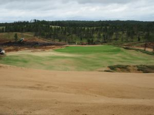 The downhill par three 5th hole (170/155/140/130/125) at Sand Valley Golf Resort