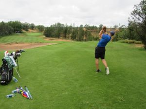 Matt Saternus's tee shot on the par four 9th hole at Sand Valley Golf Resort