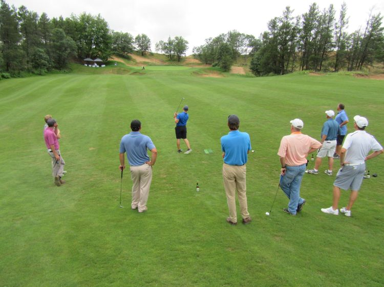 Matt's Saternus's 86-yard approach shot on the par four 9th hole at Sand Valley Golf Resort