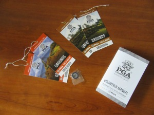 Comp'ed tickets for Monday and Tuesday's practice rounds at the PGA Championship; PGA Championship pin and volunteer's manual