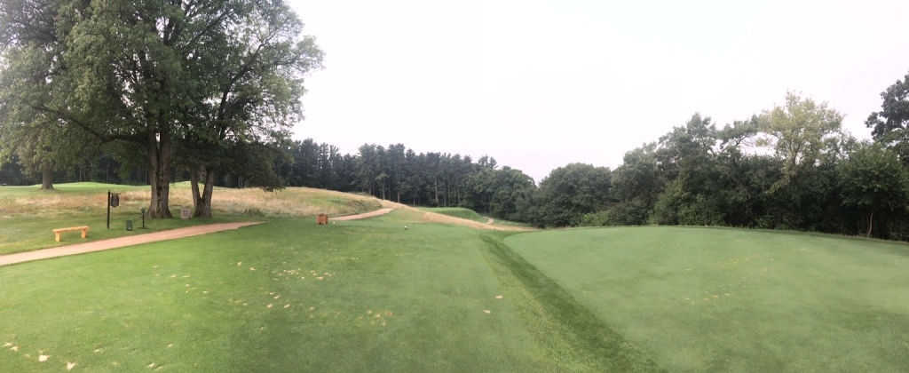The par three 7th hole on the Links course at The Golf Courses of Lawsonia from the tips