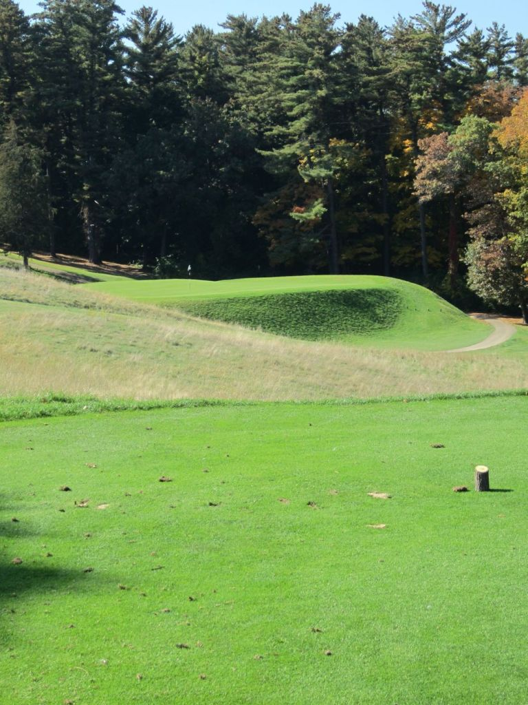 The par three 7th on the Links course at The Golf Courses of Lawsonia in Green Lake, as seen from the white tees