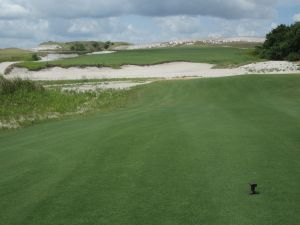 The 18th on the Red course at Streamsong from the tee