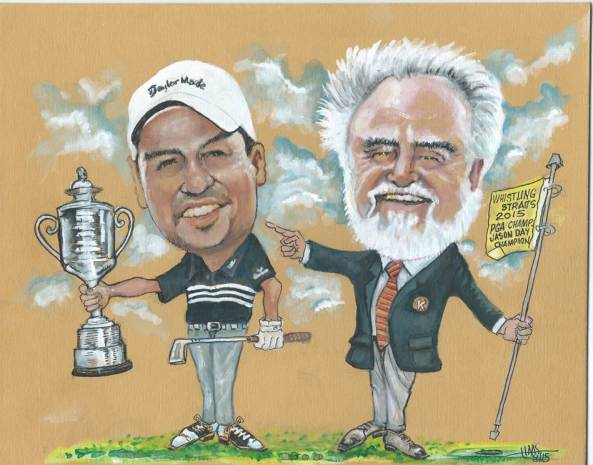 Caricature of Herb Kohler, Jr. and PGA Championship winner Jason Day, by Gene Haas