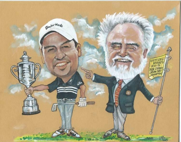 Caricature of Herb Kohler, Jr. and PGA Championship winner Jason Day, by Gene Haas