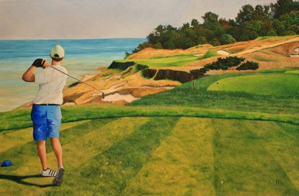 Oil painting of me on the 17th tee of the Straits course at Whistling Straits, by Kris Halsrud