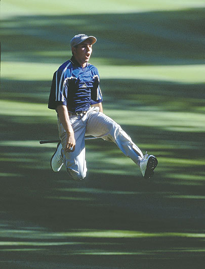 Sergio 16th hole 1999 PGA Championship leaping